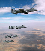 Four A-10 Warthogs from Davis-Monthan Air Force Base, Arizona, in flight. (USAF/Senior Airman Alesia Goosic)