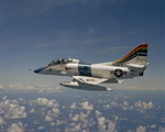 A US Navy TA-4J Skyhawk from Fleet Composite Squadron 1 (VC-1) as it is piloted by Commander Davis, the squadron's executive officer. (DoD)