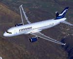 A Finnair Airbus A320 in flight. (Copyright Airbus SAS 2005)