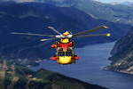 A Canadian CH-149 Cormorant over British Columbia on 11 October 2001. The helicopter is en route to its new home with 442 Squadron at Comox. (Sgt Dennis J Mah)