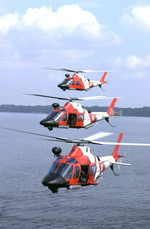 Three US Coast Guard AgustaWestland MH-68 Makos over St John's river, Florida, on 14 October 2001. (USCG/PA3 Dana Warr)