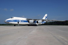 A Volga-Dnepr An-124-100 sits parked on the flight line at US Marine Corps Air Station Cherry Point, North Carolina, United States, waiting to offload its cargo on July 26 2004. (US Marine Corps photo by Lance Corporal Serena J Defilippis)