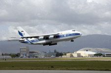 A Volga-Dnepr An-124 takes off from Moffett Federal Airfield, California, United States, on April 22 2007. The contracted An-124 transported 129th Rescue Wing deployment cargo to Afghanistan because the high operations tempos of Operations Iraqi Freedom and Enduring Freedom have kept C-17 Globemaster III and C-5 Galaxy aircraft fully engaged. (US Air Force photo by Master Sergeant Daniel Kacir)
