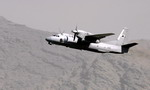 An Afghan National Army Air Corps Antonov An-32 flies out of Kabul International Airport. (USAF/Staff Sgt Brian Ferguson)
