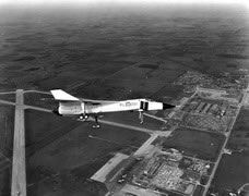 The first CF-105 Arrow built, RL-201, flying over Avro's Malton, Ontario, factory. (Canadian Department of National Defence)