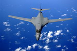 A B-1B Lancer from the 28th Bomb Wing after refuelling over the Pacific. (USAF/Staff Sergeant Bennie J Davis III)