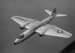 Martin B-57A Canberra, the U.S. Air Force version of the British Canberra in a trial flight over the new Chesapeake Bay Bridge in 1953. (U.S. Air Force photo)