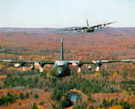 Two Canadian CC-130 Hercules flying in loose formation on 16 October 1994. (CF Photo by Corporal Lambert)