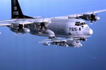 Two Lockheed Martin KC-130J Super Herculess from Marine Aerial Refuelling Transport Squadron 352 (VMGR-352) during an exercise over souther California. (USMC/Lance Corporal Kelly R Chase)