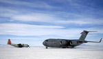 A C-17 Globemaster III taxis to its parking spot on the ice runway at McMurdo Station, Antarctica, during Operation Deep Freeze. C-17s fly large cargo loads from Christchurch, New Zealand, to Antarctica while the LC-130 Hercules, stationed at McMurdo, fly smaller cargo loads to research posts throughout the continent. The C-17s from McChord Air Force Base, Wash, and ski-equipped LC-130s from the New York Air National Guard's 109th Airlift Wing are supporting the 13th Air Force-led Joint Task Force Support Forces Antarctica operation. (USAF/Tech Sgt Shane A Cuomo)