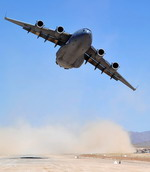A Royal Australian Air Force C-17 Globemaster III takes off from Tarin Kot, Afghanistan, on 28 May 2010. (RAAF)