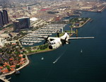 A Grumman C-2A Greyhound from Fleet Logistics Supply Squadron 30 (VRC30) from Naval Air Station North Island flies over San Diego on 27 July 1995. (USN/PH1 MK Miller)