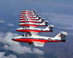 CL-41 Tutors of the Snowbirds display team in almost perfect formation on 19 March 2007. (Canadian Forces Photo)