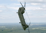 Boeing CH-47 Chinook showing off its agility (Crown Copryright RAF)