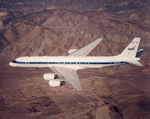 NASA's McDonnell Douglas DC-8 airborne laboratory in flight.  (NASA)