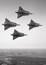 Four J35Ds of the Flygvapnet (Swedish Air Force) in tight formation in 1965 (I Thuresson/Saab).