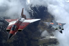 A stunning shot of two Austrian J35OE Drakens flying over the Austrian Alps. The aircraft on the left is painted in unique aerobatic markings. (K Tokunaga/Saab)