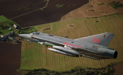 A Flygvapnet J35J Draken carrying Rb 24 AAMs and  four drop tanks (H O Arpfors/Saab).