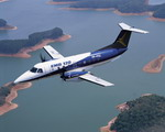 An Embraer EMB-120 Brasilia in flight. The EMB-120 is an improved version of the EMB-110 Bandeirante. (Embraer)