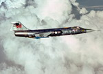 A Lockheed F-104 Starfighter armed with two AIM-9J Sidewinders. The aircraft is from the 69th Tactical Fighter Training Squadron, 58th Tactical Training Wing, 12th Air Force. (DoD)