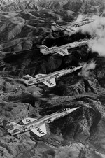 A four aircraft formation of Lockheed F-104A Starfighters. (USAF)
