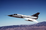 An F-106A Delta Dart over the Mojave Desert on its way to Davis-Monthan Air Force Base on 28 June 1988. It will be used as a QF-106 target drone after finishing its B-1B chaseplane duties. (USAF/Staff Sgt John K McDowell)