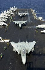 F-14 Tomcats aboard the USS Enterprise on 9 November 2001. (USN/Photographer's Mate 1st Class Martin Maddock)