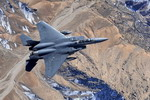 An F-15E Strike Eagle from the 335th Expeditionary Fighter Squadron, Bagram Air Field, flies over Afghanistan on 26 November 2009. (USAF/Staff Sgt Michael B Keller)