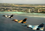 F-16 Fighting Falcons fly over Tumon Bay, Guam, on 10 February 2009 druing exercise Cope North 09-01. (USAF/Master Sgt Kevin J Gruenwald)