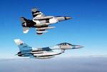 Two F-16 Fighting Falcons on their way to Eilson AFB, Alaska, for exercise Red Flag. (USAF/Staff Sgt Eric T Sheler)
