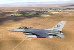 A Lockheed Martin F-16 Fighting Falcon over Edwards Air Force Base on 4 October 2010. (USAF/Greg L Davis)