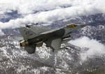 An F-16 Fighting Falcon flies over Mount Whitney, California, on 27 January 2005. (USAF/Bobbi C Zapka)