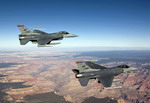 Two F-16 Fighting Falcons from the US Air Force's 162nd Fighter Wing, Arizona ANG, fly over the Grand Canyon. (USAF/High-G Productions - James Haseltine)