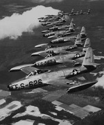 12 F-84 Thunderjets in formation as seen on 24 Apr 1951. (National Air and Space Musuem)