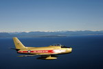 A Canadian F-86 Sabre on 23 April 2009 near Comox, British Columbia, in the colours of the RCAF Golden Hawks, which was the first jet aerobatic team in Canada. (CF Photo by Master Corp Robert Bottrill)