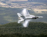 A Royal Australian Air Force F/A-18 Block II Super Hornet flying near Mount Mitchell on 3 June 2010. (RAAF)