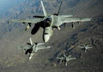 Four US Navy Super Hornets fly over Afghanistan on 25 November 2010. (USAF/Staff Sgt Andy M Kin)
