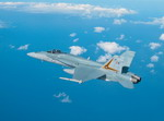 A Royal Australian Air Force F/A-18 Hornet with ASRAAMs (Advanced Short-Range Air-to-Air Missiles) mounted on its wings. (RAAF)