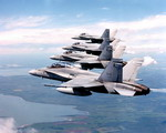 Candian Air Force CF-18 Hornets in formation on 30 May 2006. (CF Photo)