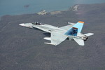 A Royal Australian Air Force F/A-18 Hornet from 3 Squadron in flight near Port Stephens on 9 December 2009. (RAAF)