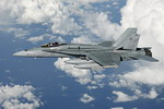 A Royal Australian Air Force F/A-18 Hornet en route to Australia on 10 May 2010 after taking part in Exercise Bersama Shield 2010. (RAAF)