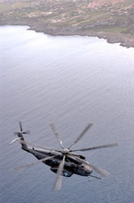 A Sikorsky MH-53E Sea Dragon from Helicopter Combat Support Squadron 4 flies off the coast of Sicily on 9 January 2003. (USN/Photographer's Mate 2nd Class Damon J Moritz)
