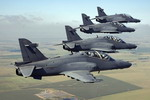 Four South African Air Force Hawk Lead-In Fighter Trainers in flight. (SAAF)