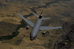 A KC-10 Extender tanker flies over Afghanistan after refuelling from a KC-135R on 27 May 2008. (USAF/Master Sergeant Andy Dunaway)