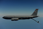 A KC-135R from the US Air Force's 108th Air Refuelling Wing, NJ ANG, over the Atlantic on 19 August 2009. (USAF/TSgt James L Harper)
