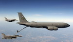 A Boeing KC-135 Stratotanker with two F-16s alongside. (USAF/Staff Sgt Suzanne Day)