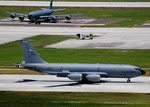 Two KC-135s on the runway at Andersen Air Force Base on 14 September 2010 for exercise Valiant Shield. (USAF/Airman 1st Class Jeffrey Schultze)