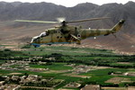 An Afghan National Army Air Corps Mi-35 Hind E over Afghanistan on 11 May 2010. (USAF/Staff Sgt Manuel J Martinez)