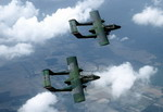 Two OV-10A Broncos from the 20th Tactical Air Support Squadron of the US Air Force during a flight out of Shaw Air Force Base, South Carolina on 1 May 1990. (DoD/Technical Sergeant Hans H Deffner)