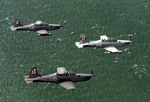 Three Royal Australian Air Force PC-9 trainers in formation. (RAAF)
